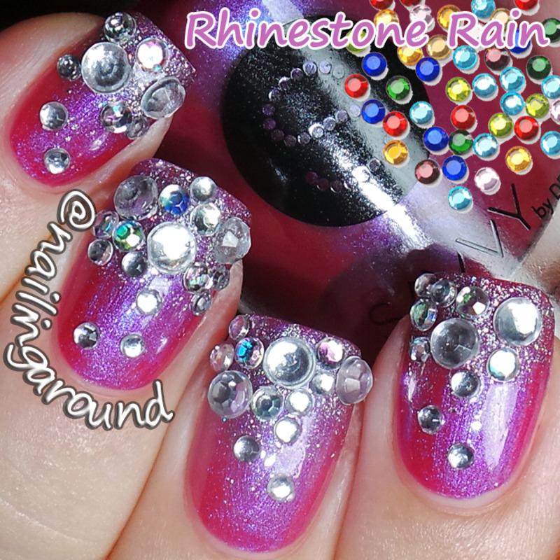 WAH Book 1 - Rhinestone Rain nail art by Belinda