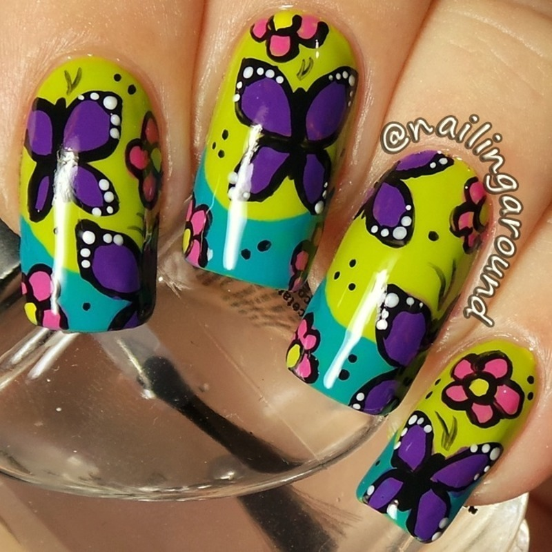 Butterfly nail art by Belinda