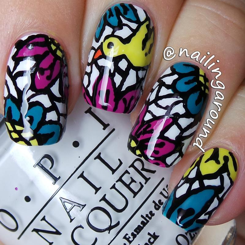 Bird nail art by Belinda