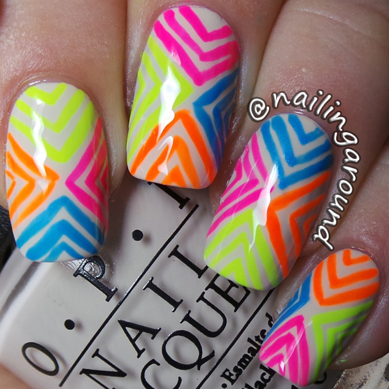 Neon Chevrons nail art by Belinda