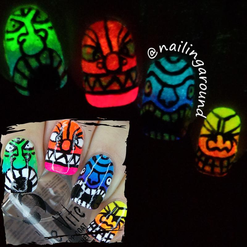 Totem Glow nail art by Belinda