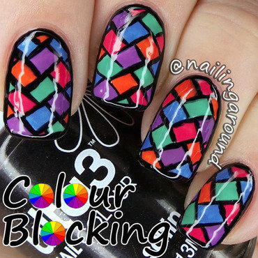 Colour Block nail art by Belinda