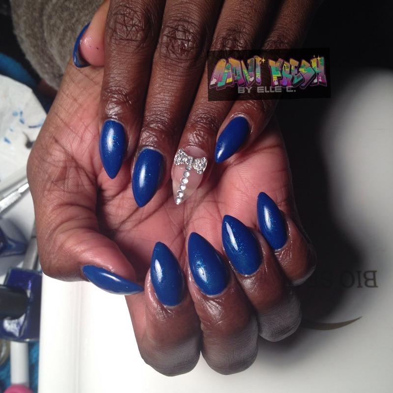 Blue Sparkle nail art by Elle Carver