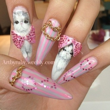 I Meow You! nail art by Caroline *Ruby* Ostling