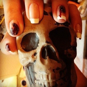 Bloody French nail art by Annie