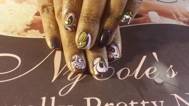 Mesmerized Water Marble w/Sparkle  nail art by Lady NyCole