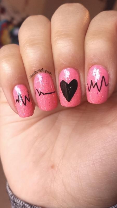 Heartbeat nail art by Julia