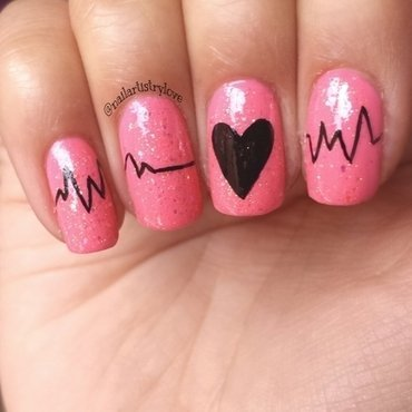 Heartbeat nail art by Julia