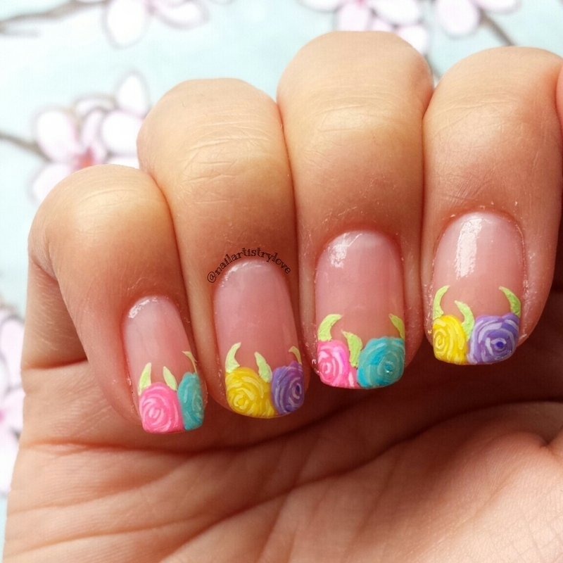 Watercolor Flowers nail art by Julia