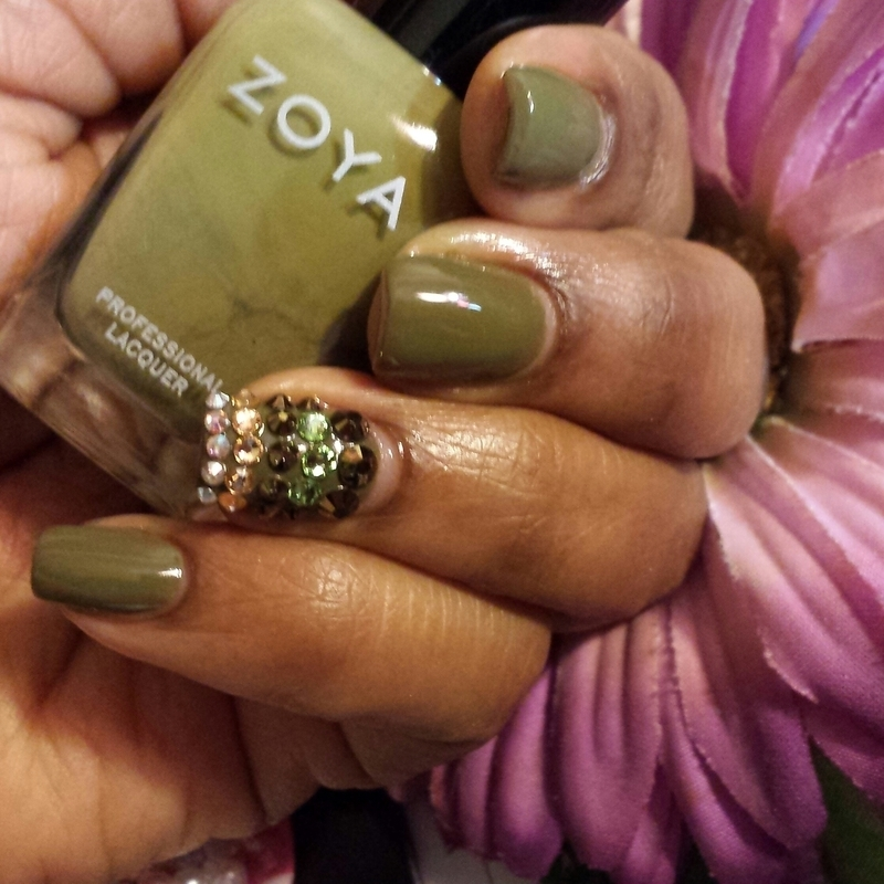 Envy Me Green  nail art by Lady NyCole
