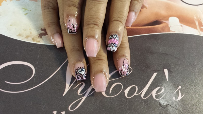Nude Nails with Heart  nail art by Lady NyCole
