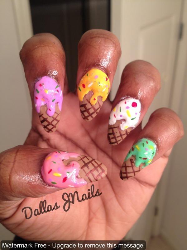 Icecream anyone? nail art by Dallas