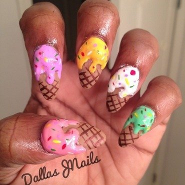 Icecream anyone? nail art by Dallas