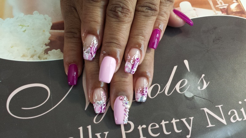 Abstract w/hearts nail art by Lady NyCole