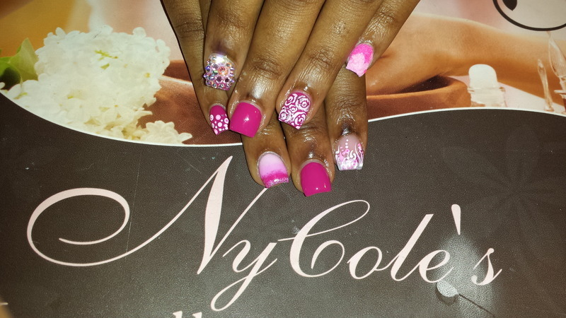 Think Pink  nail art by Lady NyCole