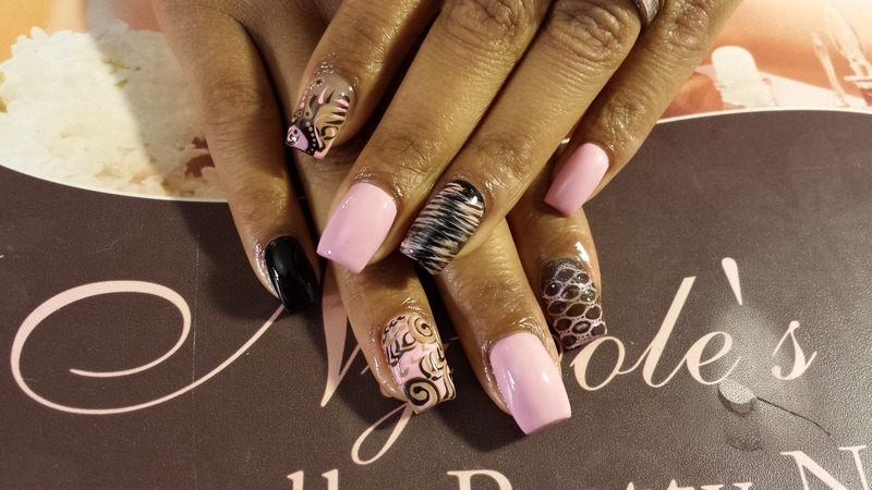 Pink Brown Texture & Abstract  nail art by Lady NyCole