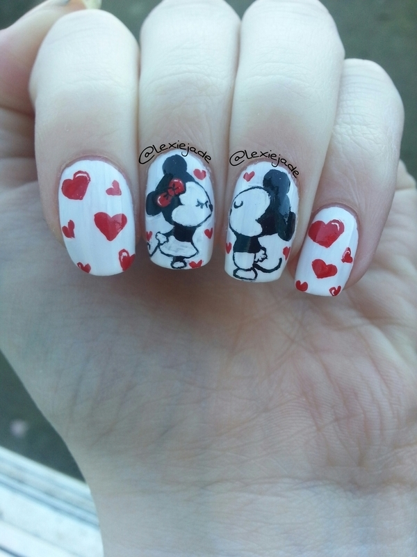 Mickey and minnie valentines mani nail art by lexie jade mickey and minnie valentines mani nail art by lexie jade prinsesfo Image collections