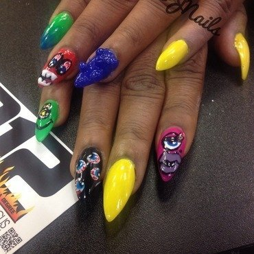 Monster nails nail art by Dallas