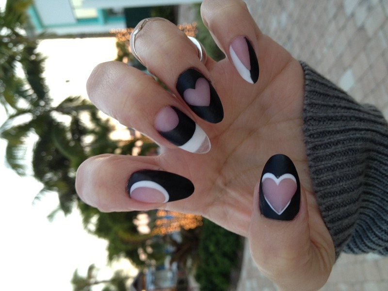 Negative space with love nail art by Isabel