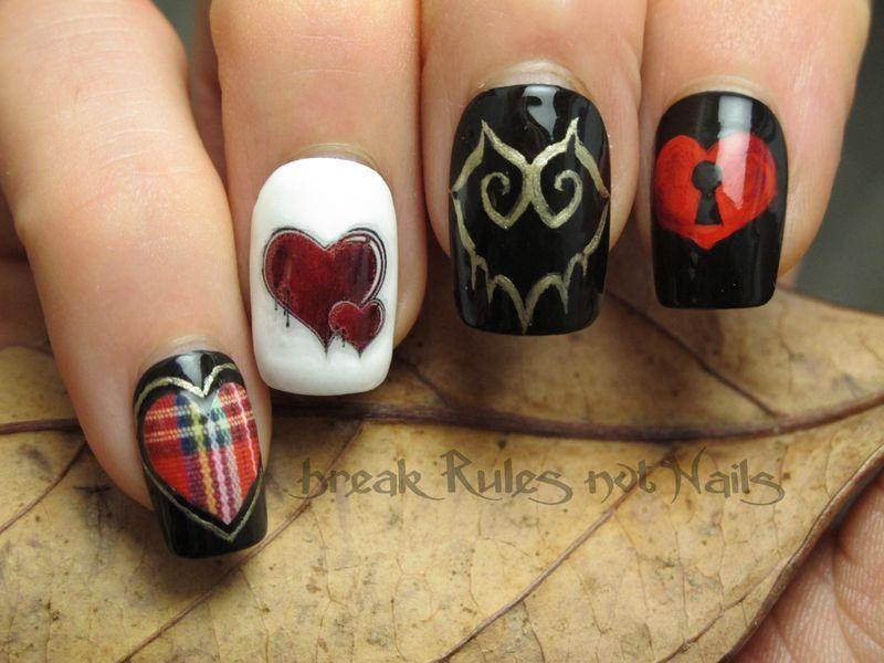 Valentine skittle nail art by Michelle