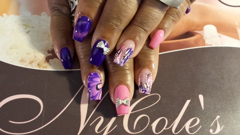 Pink/Purple Put a Bow on It nail art by Lady NyCole