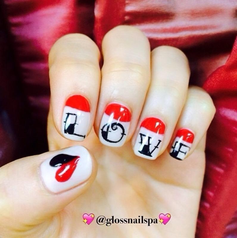 Be my valentine!  nail art by Gloss Nail Spa