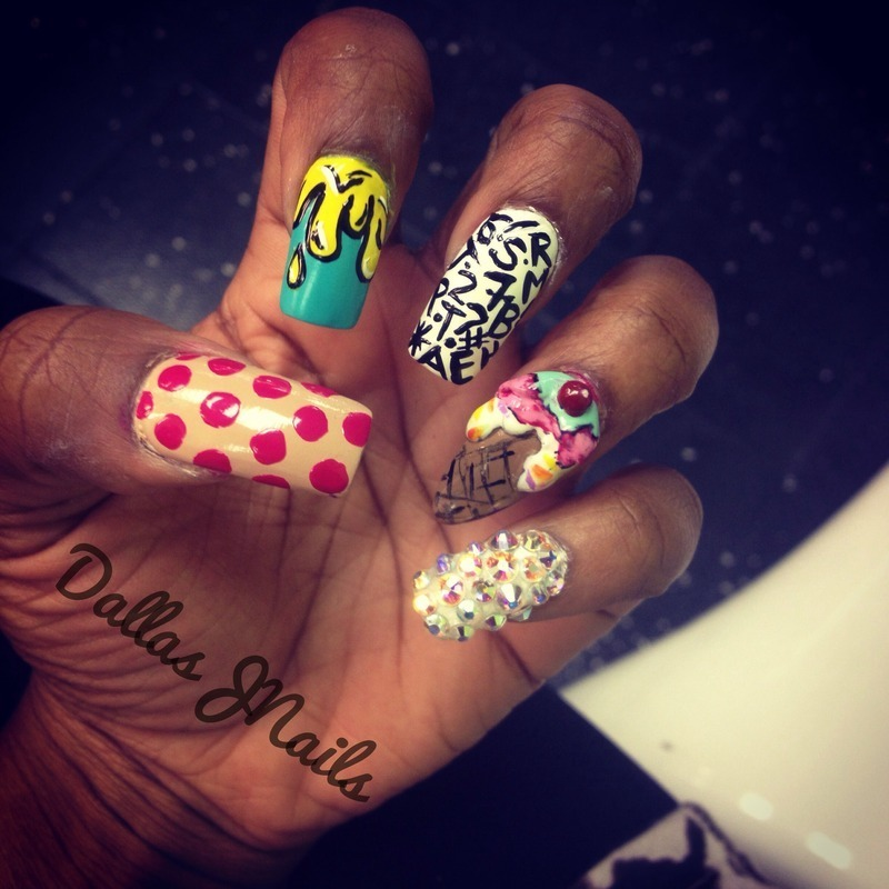 Random thoughts nail art by Dallas