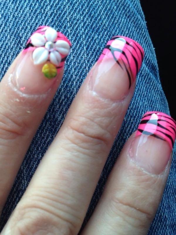 Pink french w zebra and 3D nail art nail art by Kristina