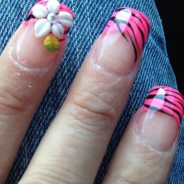Pink french w zebra and 3D nail art nail art by Kristina