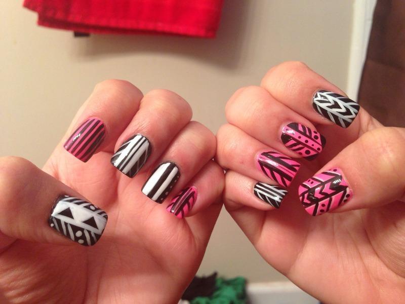Tribal  nail art by Kristina