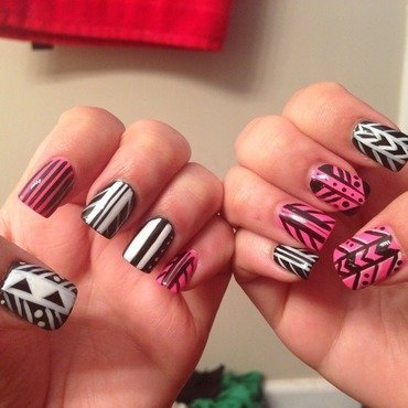 Tribal  nail art by Kristina