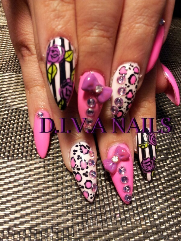 Pretty in Pink nail art by Adriana Avila