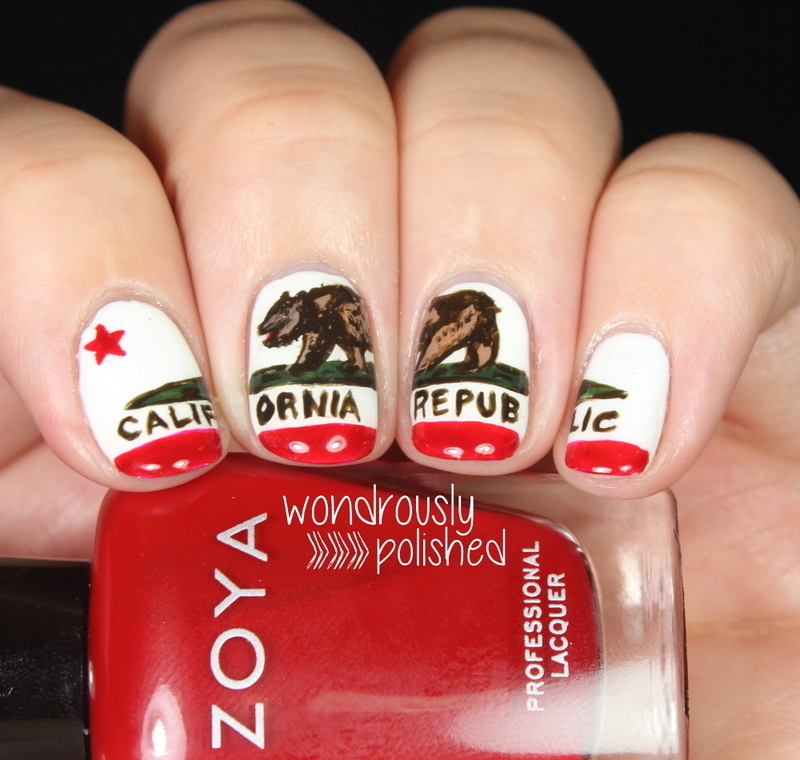 Inspired by a Flag - California State flag nail art by Lindsey W