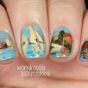 Monet's Regatta at Argenteuil nail art by Lindsey W