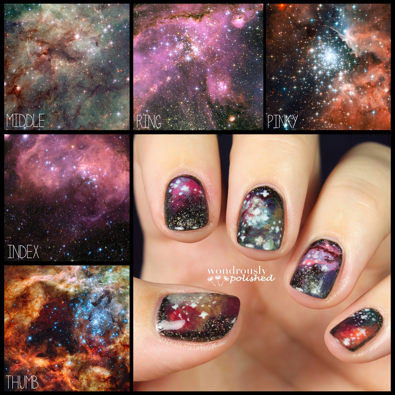 Galaxies nail art by Lindsey W