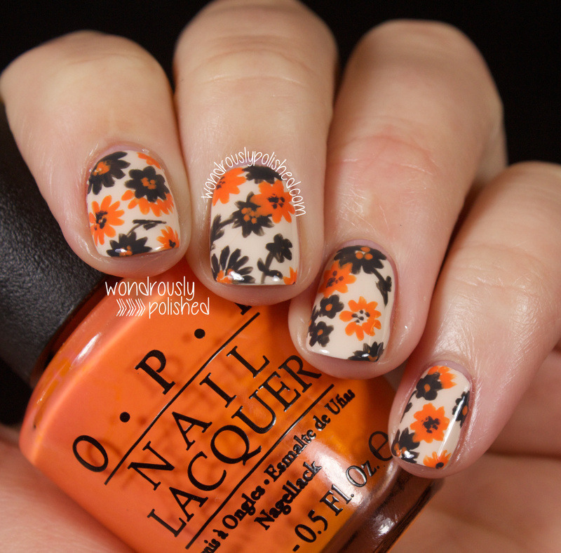 Orange and Grey floral nail art nail art by Lindsey W