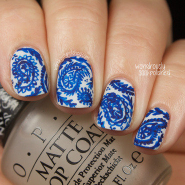 Paisley China Plate  nail art by Lindsey W
