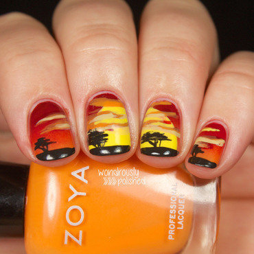Lion King Sunrise nail art by Lindsey W