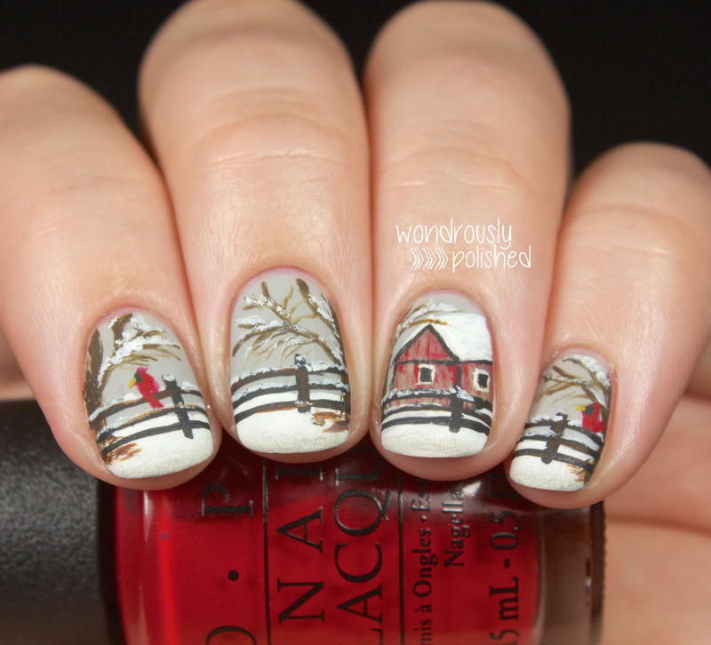 Wintery Scene nail art by Lindsey W