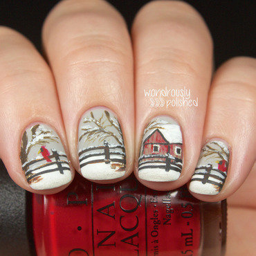 Winter scene nail art 9 thumb370f