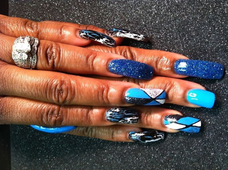 Blue, Blue, Blue nail art by Vicki