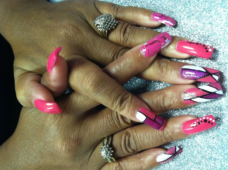 Pink Blush nail art by Vicki