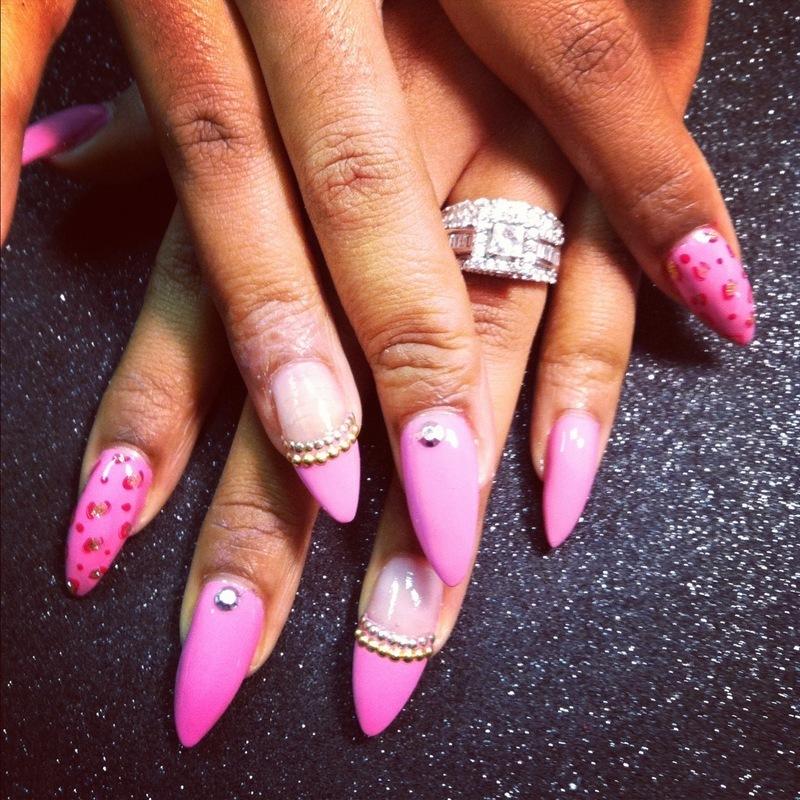 Pink Panther nail art by Vicki