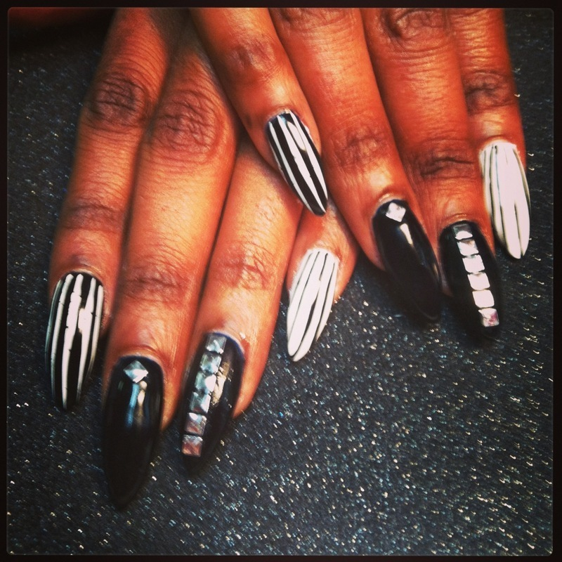 Sliver and Strips nail art by Vicki