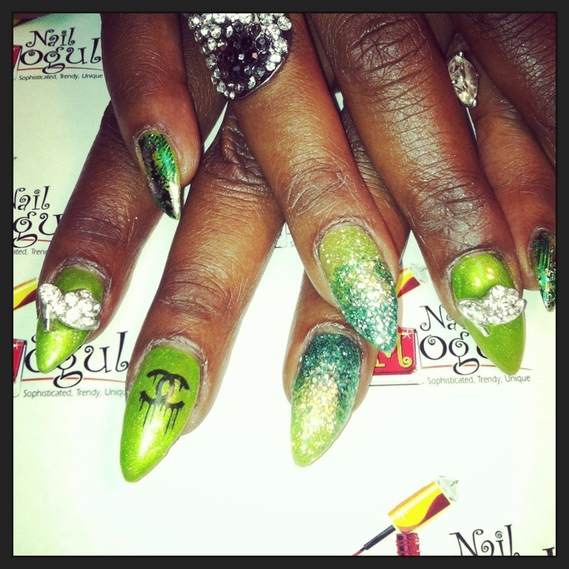 Green is Gold nail art by Vicki