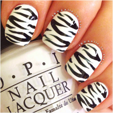 Zebra Nails nail art by Nails_In_Style
