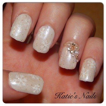 Classic snowflake nail art by Katie Walker