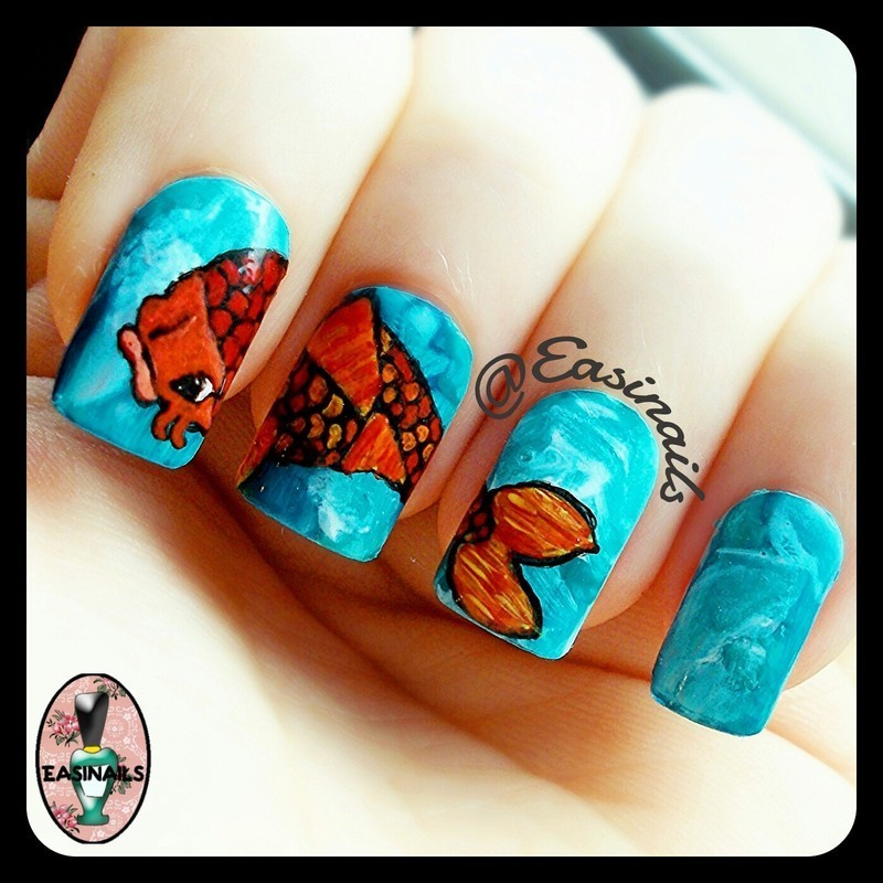 Life in the Sea nail art by Easinails