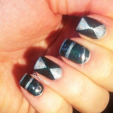 Striping tape nailart nail art by Ducky_npa (Lili)