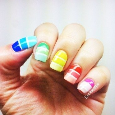 Color stripes  nail art by Ducky_npa (Lili)